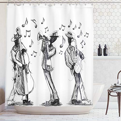- Ambesonne Jazz Music Decor Collection, Sketch Style of a Jazz Band Playing Music with Instruments and Musical Notes Print, Polyester Fabric Bathroom Shower Curtain Set with Hooks, Black White