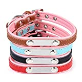 Personalized Dog ID Collar, CozyCabin Leather Adjustable Pet Collars Engraving with Pet Name & Phone Number (S: 10.6