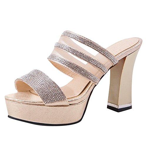 Mesh Carolbar Rhinestones Gold Voile Sandals Slippers Womens Heeled Platform wCx1gOq