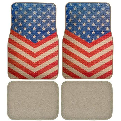 US America Flag Custom Designed Car Truck SUV Universal-fit Front & Rear Seat Carpet Captain Style Floor Mats - 4pc
