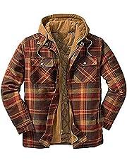 Men's Heavy Warm Fleece Jacket Plus Size Plaid Lapel Hooded Thick Loose Coat Long Sleeve Outwear 2021 Winter Casual Coat