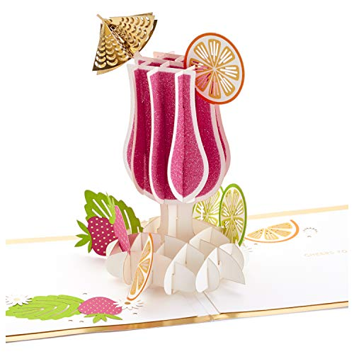 Hallmark Signature Paper Wonder Pop Up Congratulations or Birthday Card (Cheers, Tropical Drink) ()