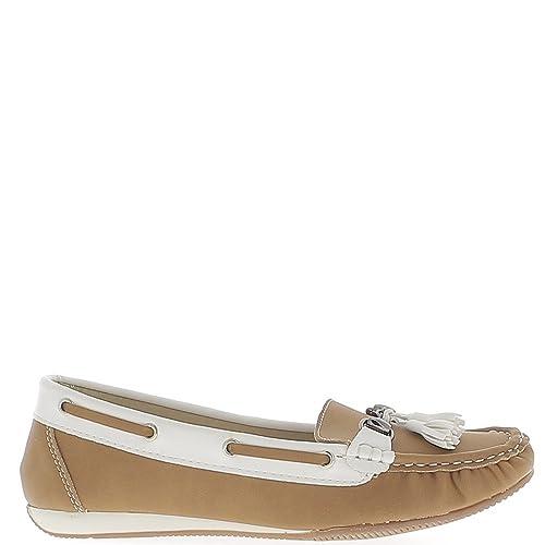 Confort zapatos mocasines mujer camel tacón pequeño offset - 36: Amazon.es: Zapatos y complementos