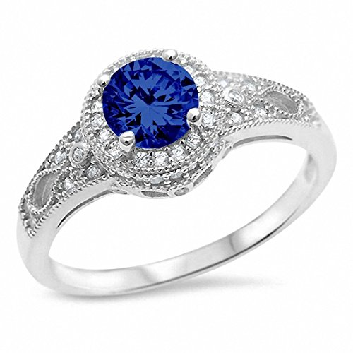 Solitaire Halo Art Deco Wedding Engagement Ring Simulated Round Blue Sapphire 925 Sterling (Sapphire Art Deco Ring)