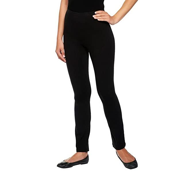 Susan Graver Stretch Full Length Legging A225549 Black Pxl Amazon