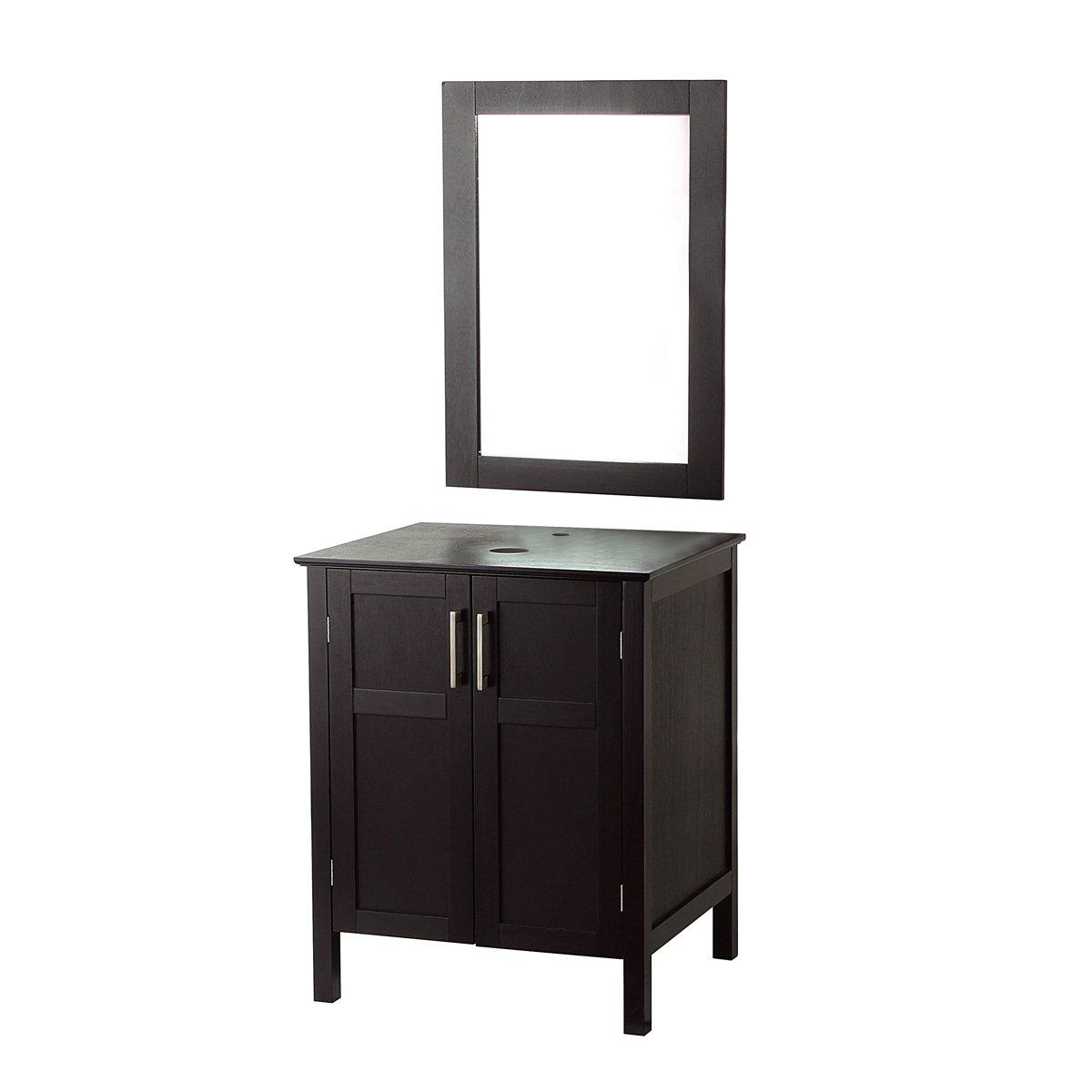 AECOJOY Bathroom Cabinet with Mirror, Espresso Wood Vanity Units, Morden Sink Stand Pedestal