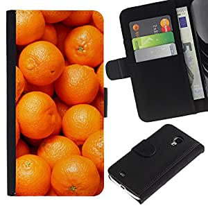UberTech / Samsung Galaxy S4 Mini i9190 MINI VERSION! / Mandarin Orange Macro Fruit Tropical / Cuero PU Delgado caso Billetera cubierta Shell Armor Funda Case Cover Wallet Credit Card