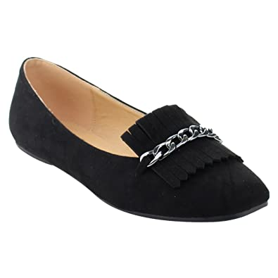 BETANI EL82 Womens Chic Slip On Fringe Chains Flats Loafers, Color Black, Size: