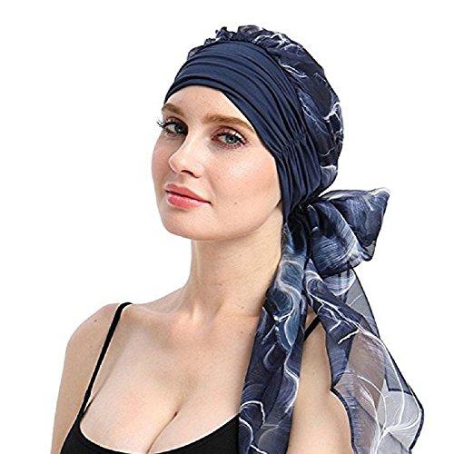 Chemo Turban Headscarf wrap Long Hair Pretied Bandana Tichel for Women Hair Loss Headcover (Navy,Blue)
