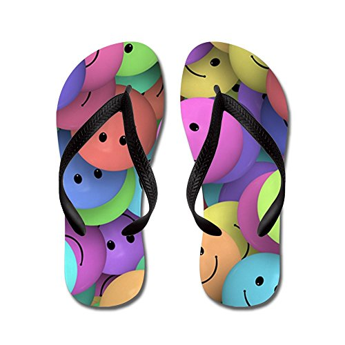 (Truly Teague Kid's Lots of Pastel Smiley Faces Black Rubber Flip Flops Sandals 1-4)