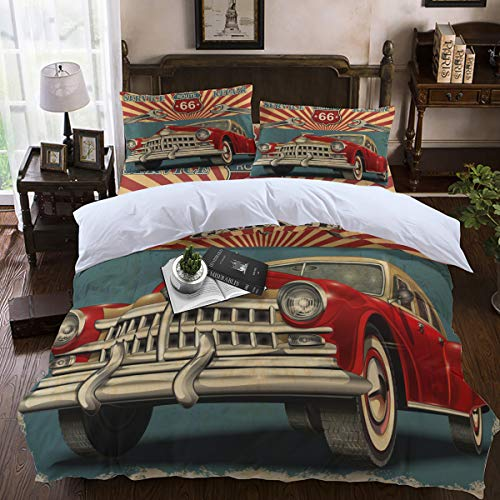 (Duvet Cover Sets,Lightweight Soft and Breathable 4-Piece Bedding Comforter Covers with Zipper Closure, Corner Ties for Men, Women, Boys and Girls - Garage Route 66 Classic Cars Queen)