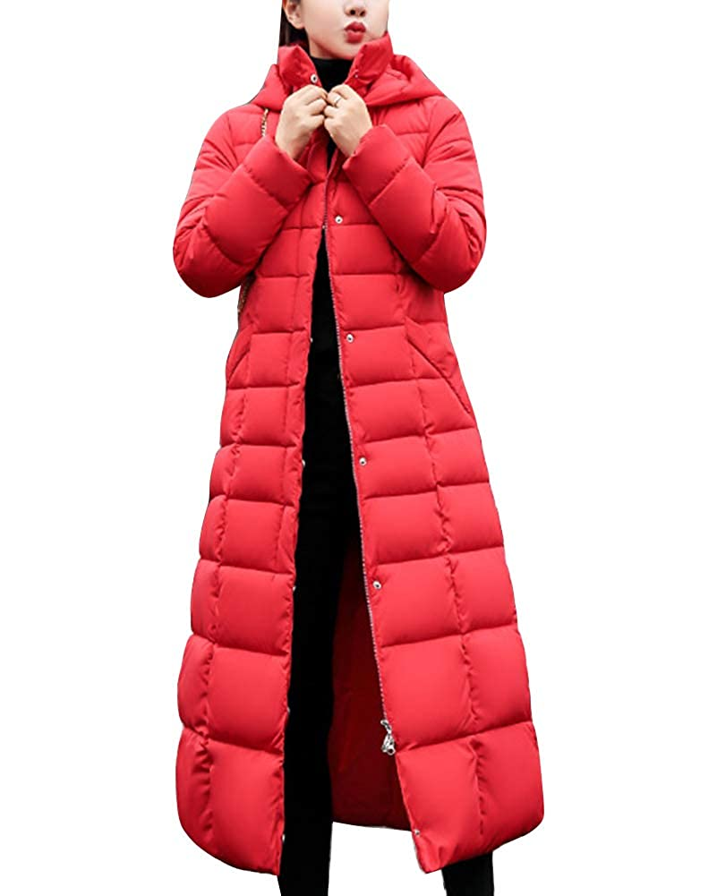 Guiran Women Warm Coat Padded Parka Casual Thicker Winter Hooded Down Jacket Long Overcoat Outerwear