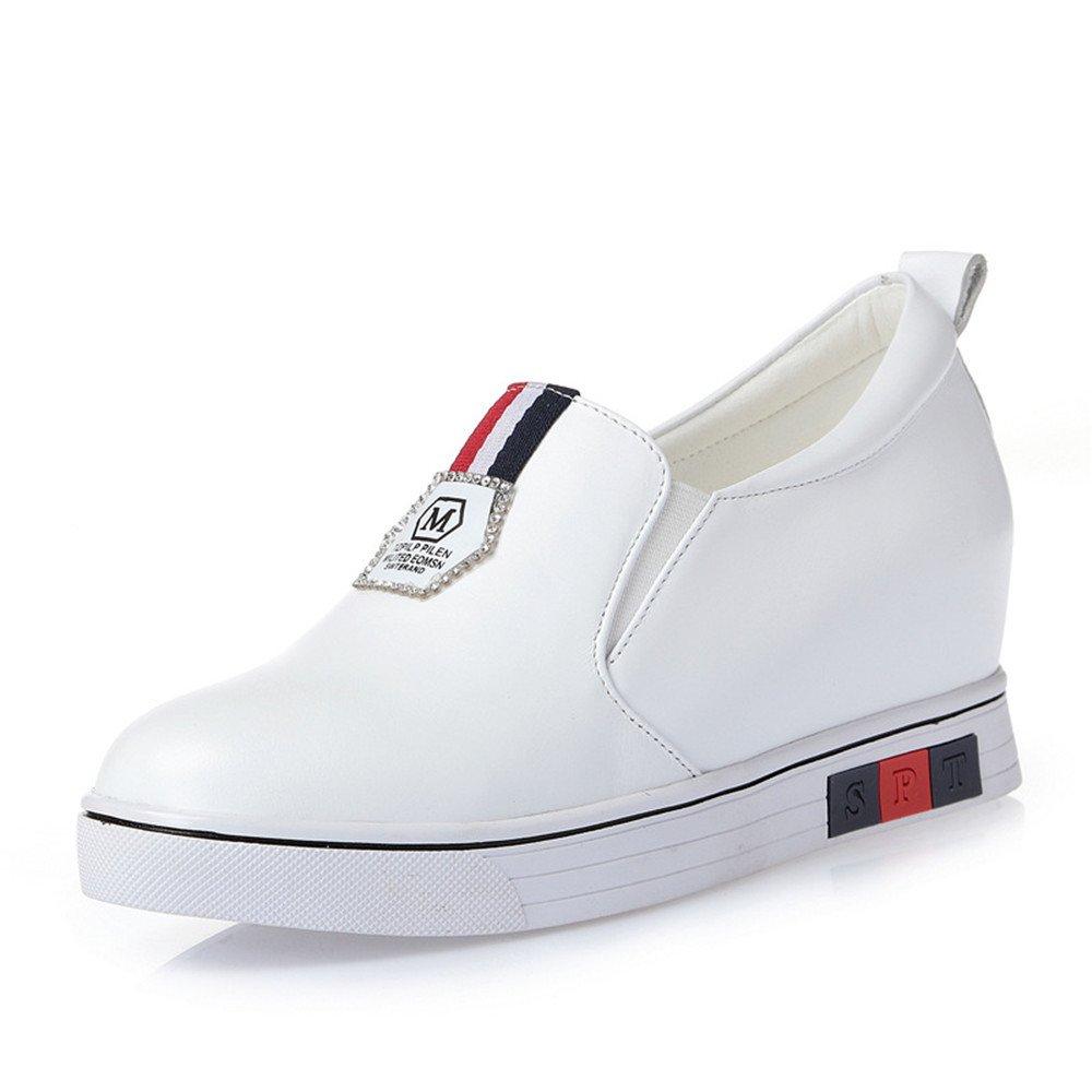 QXH Damen Sandalen Leder Runden Kopf, Flache Flache Mund Mund Mund Farbe Weiß b8b5a1