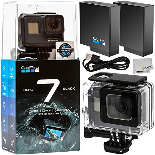 GoPro HERO7 Hero 7 Black Action Camera with Starter Accessory Bundle - Includes: Replacement Battery, Underwater Housing & Microfiber Cleaning Cloth from GoPro