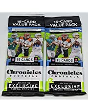 Pair 2020 Chronicles NFL Football 15-Card Value Fat Cello Packs (30 Cards Total)