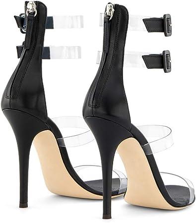 GAOQIAN Sandali da Donna Trasparente PVC Nero Scarpe da
