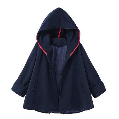 Sylar Abrigos Para Mujer Invierno 2018 Color Sólido con Capucha Mangas Largas Bolsillo Casual Abrigo De Lana Outwear Pullover Parka Chaqueta S-XXL: ...