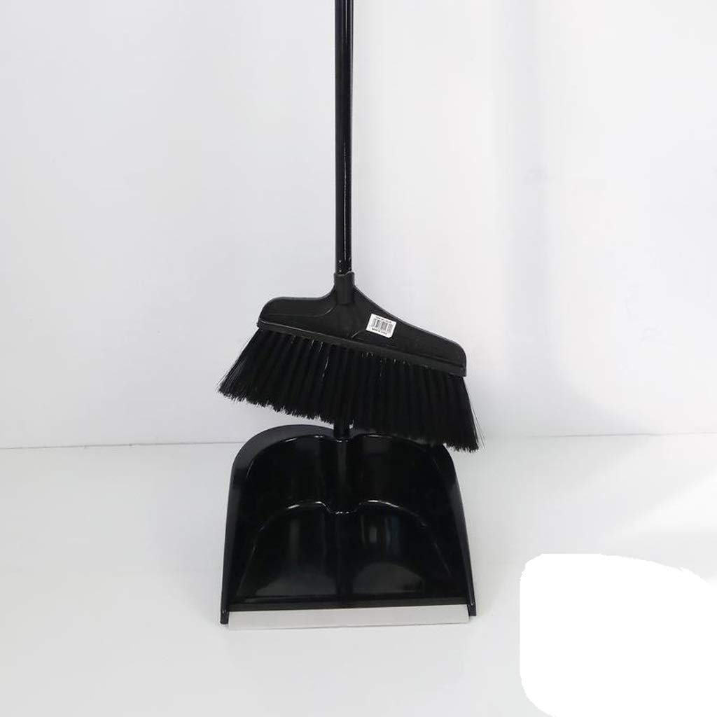 Family Soft-brown Plastic Broom Combination - 38.5''/11.8'' Long Handle Single Broom Trash Can Combination And Dust Pot Stand Upright Grip Sweep Home, Office, Black by Broom&Dustpan