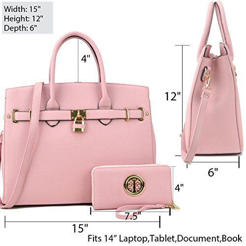 Faux Purse Satchel Bag Handle Tote Briefcase Women's Key 2pcs Shoulder Top Pink Designer Laptop Leather Without Padlock Dasein Handbags F1006 qwgpvxCS