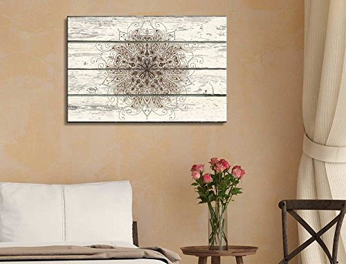 Decorative Patterned Art on a Rustic Wooden Background