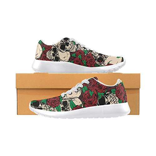 InterestPrint skull rose Sports Running Shoes for Women Abstract Grunge Skulls and Roses YcpsT