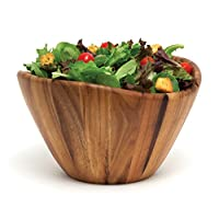 """Lipper International 1174 Acacia Wave Serving Bowl for Fruits or Salads, Large, 12"""" Diameter x 7"""" Height, Single Bowl"""