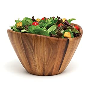 Lipper International 1174 Acacia Wave Serving Bowl for Fruits or Salads, Large, 12″ Diameter x 7″ Height, Single Bowl