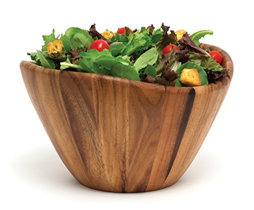 (Lipper International 1174 Acacia Wave Serving Bowl for Fruits or Salads, Large, 12