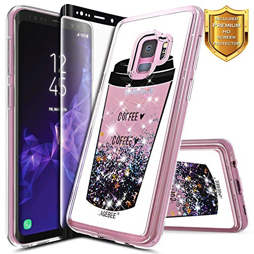 Galaxy S9 Plus Case w/[Full Cover Screen Protector Premium Clear], NageBee Glitter Liquid Quicksand Waterfall Flowing Sparkle Bling Cute Case Designed for Samsung Galaxy S9 Plus -Coffee