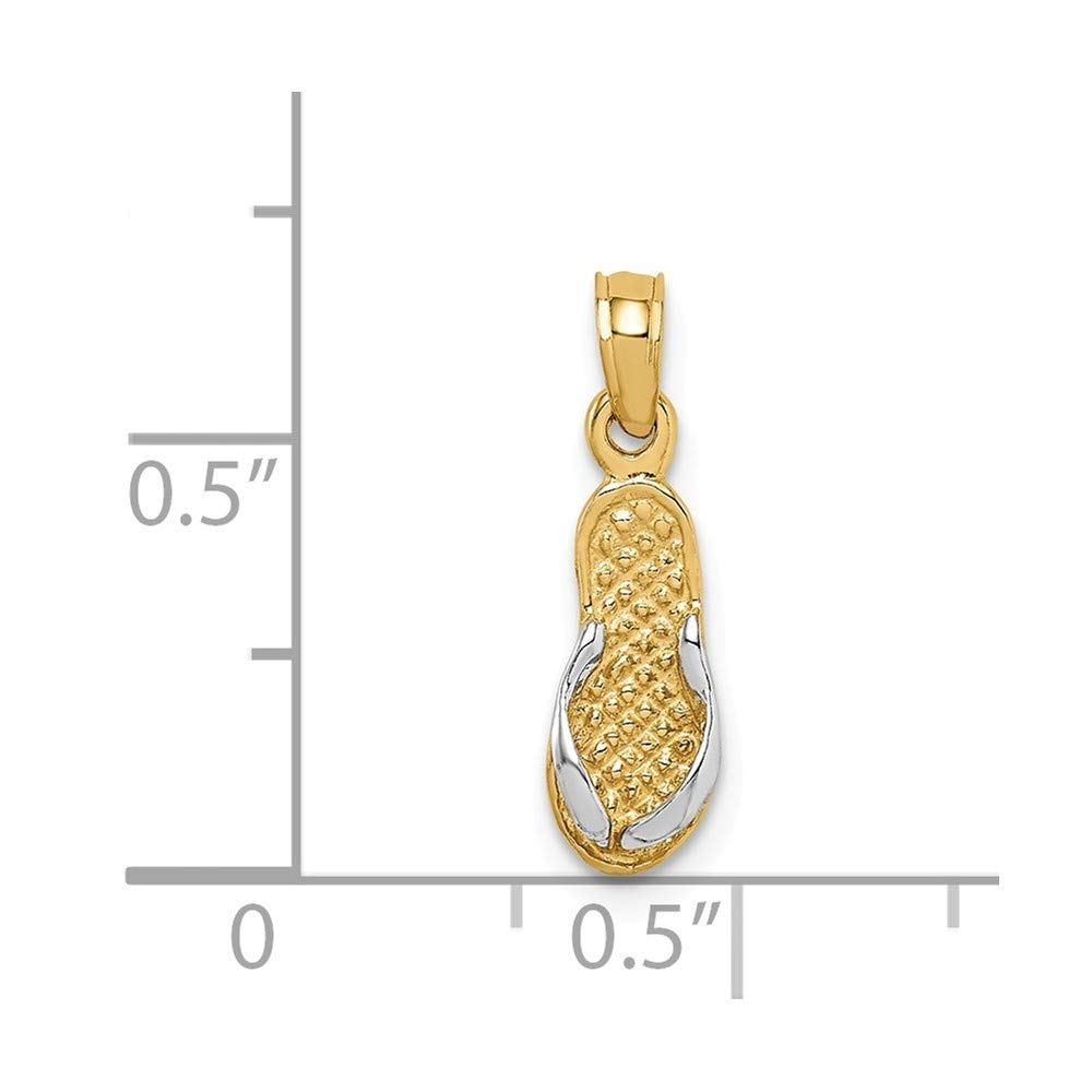 14K Yellow Gold And Rhodium Single Flip-Flop Pendant from Roy Rose Jewelry
