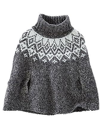 Amazon.com: OshKosh B'gosh Grey and White Poncho-Style Sweater (6M ...