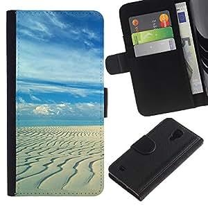 LASTONE PHONE CASE / Lujo Billetera de Cuero Caso del tirón Titular de la tarjeta Flip Carcasa Funda para Samsung Galaxy S4 IV I9500 / Sandy beach