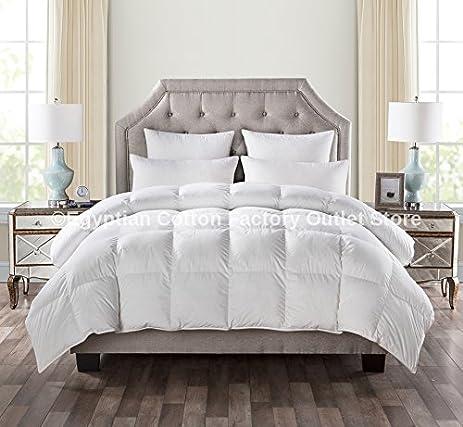 LUXURIOUS QUEEN Size White Goose Down Alternative Comforter Duvet Insert 750 Fill Power 50 Oz