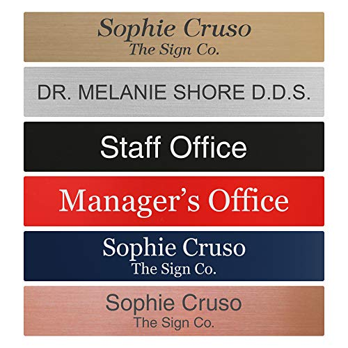 Personalized Name Plate Sign - 2x12 - Engraved - 24 Color Options - Rounded Corners - Customize (Corner Custom Desk)