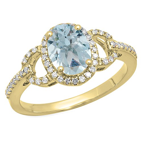 14K Yellow Gold Oval Aquamarine & Round White Diamond Bridal Halo Style Engagement Ring (Size 5.5) by DazzlingRock Collection