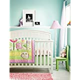 New Pink Baby Girls Owl 9 Pieces Crib Bedding Set With musical mobile