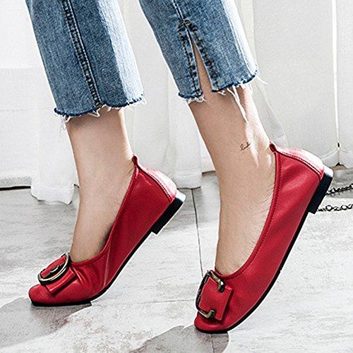 T-juli Kvinna Slip-on Walking Dagdrivaren Skor Mjuk Komfort Avslappnad Körning Platta Moccasin Skor Röd
