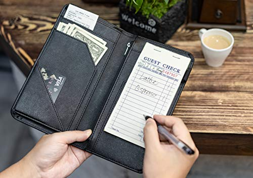 "4.7"" X 9"" Server Book with Zipper Pocket and Magnetic Closure Waitress Book with Money Pocket Restaurant Waitstaff Organizer Fit Server Apron with High Volume Pocket"
