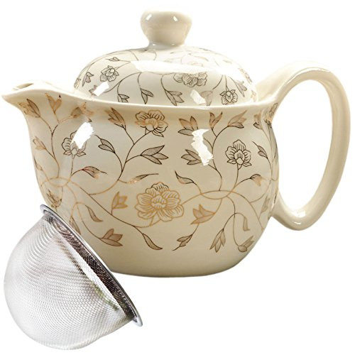 BandTie Convenient Travel Home Office Loose Leaf Chinese Gongfu Tea Brewing System-Blue and White Porcelain Teapot Ceramics Tea Pot with Stainless Steel Tea Infuser Strainer,Brown Flowers (Porcelain Steel Teapot)