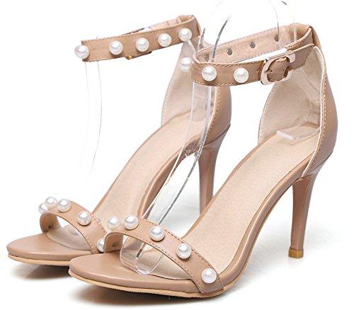 Stiletto Sandales Mode Perles Banquet Bride Aisun Cheville Abricot Femme Fille x78qX1Zfw