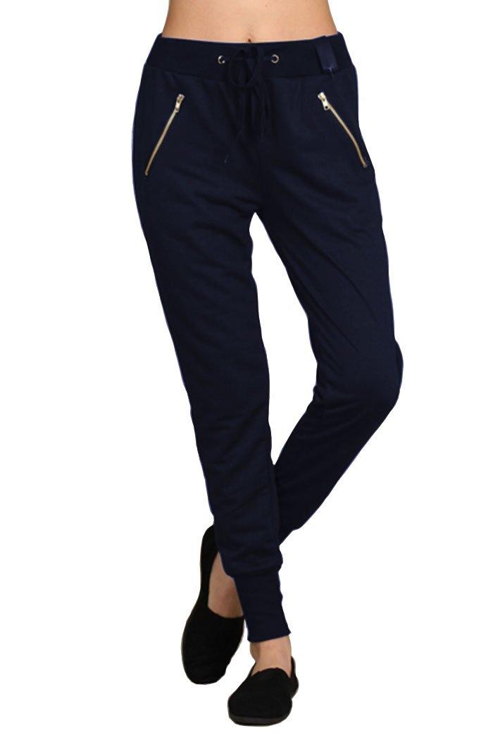 Ever77 Women's Cuffed Jogger Pants with Zipper/Regular&Plus/TP1029DO-Navy,S/M