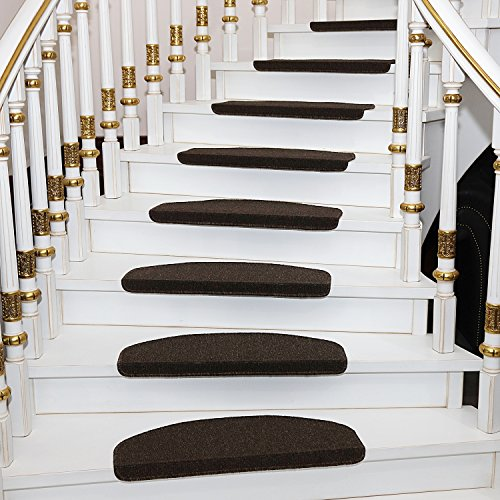 Qingbei Rina Brown Stair Tread Bullnose Carpet Non-Slip Indoor Durable Mat Self Adhesive Stair Protectors For Dogs and Kids Set of 13 Modern Step Cover for Hard Floor Staircase(9.5