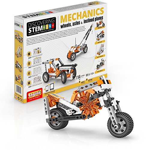 Engino Discovering STEM Mechanics Wheels, Axles and Inclined Planes | 14 Working Models | Illustrated Instruction Manual | Theory & Facts | Experimental Activities | STEM Construction Kit from Engino