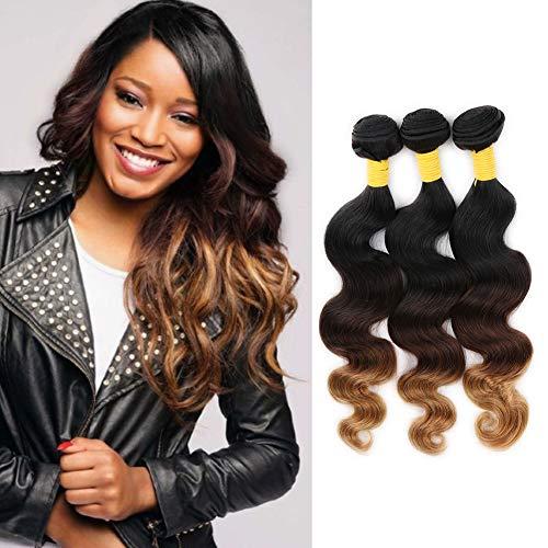 3 Tone Ombre Human Hair Extensions Body Wave Brazilian Hair Bundles Body Wave Human Hair Extensions 3 Bundles #1b/4/27 Color (18