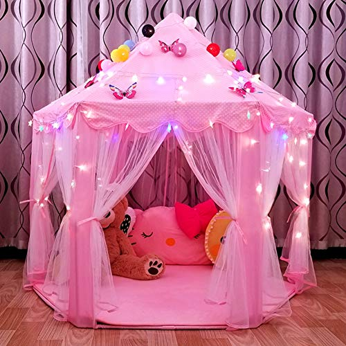 - Ejoyous Girls Princess Tent, Kids Play Castle Tent Foldable Pop Up Pink Playhouse with LED Star Lights for Boys Children Toddler Indoor and Outdoor