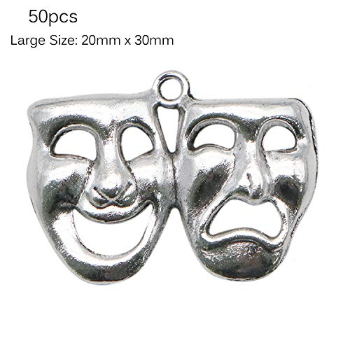 JETEHO 50pcs Silver Metal Theater Charms - 20mm x 30mm Large Drama Comedy Tragedy Mask Charm for Jewelry Making