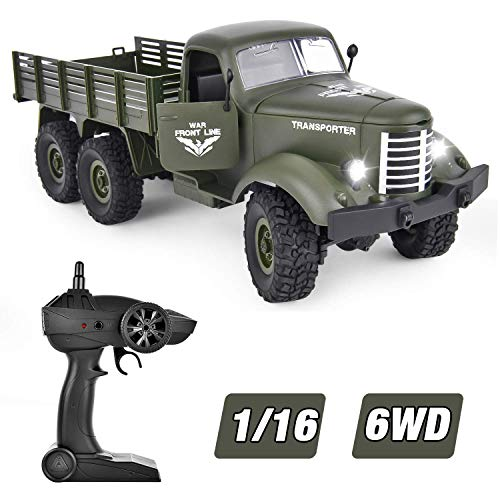 GotechoD RC Truck Remote Control Military Truck 1/16 All Terrain RC Military Truck Vehicle 6WD Offroad Remote Control Trucks 2.4G Rechargeable High Speed RC Cars Toys for 6-15 Years Old Boys Kids Gift