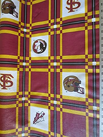 Florida State Tailgate Tablecloth Vinyl With Cotton Backing 54 Inch Fabric - Florida State Fleece Fabric