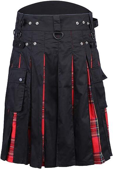 Shujin Falda Escocesa para Hombre, Falda Escocesa Tradicional ...