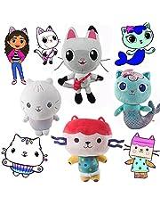 4 Pcs 10''Cakey, Box Cat, Mercat and Pandy Paws Cat Plush Toy Set Inspired by Cat Gabbys Dollhouse